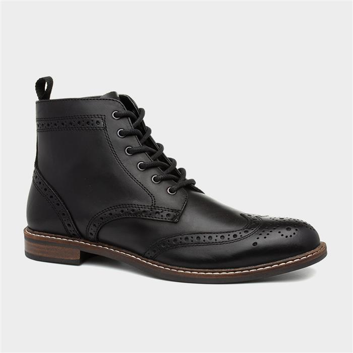 Red Tape Askham Mens Black Leather Lace Up Boot