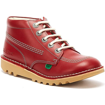Kickers Kick Hi Zip Junior Red / White Leather Boots boys's Children's Mid Boots in Red. Sizes available:2,2.5,13 kid,12.5 kid,1