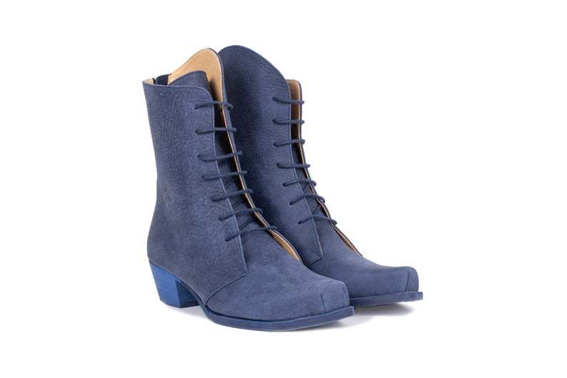 New Style Navy Blue Cuban Heel Back Stay Zipper Women Real Leather Long Boots