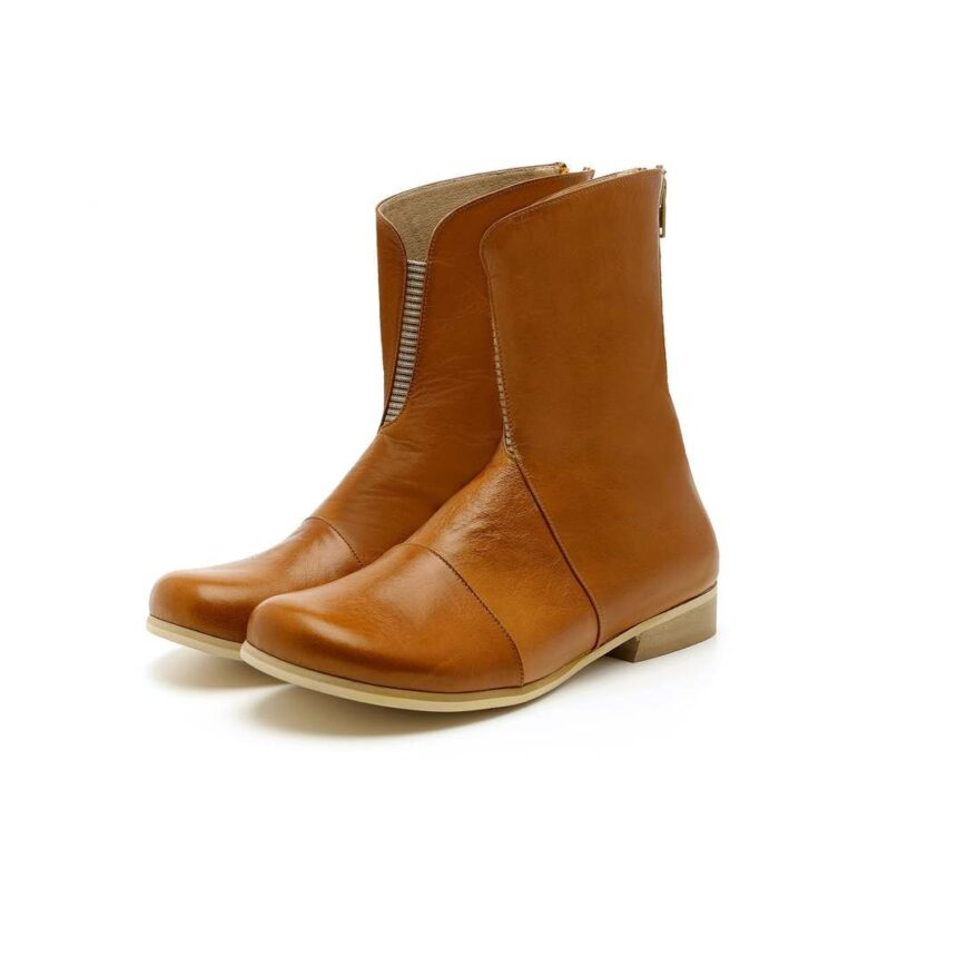 Stylish Tan Brown Elastic Gore,Back Zip Women Real Leather High Ankle Boots